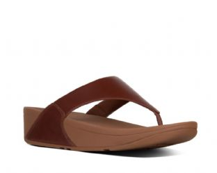 FitFlop Womens LULU Leather Toe-Thongs Cognac Sandals